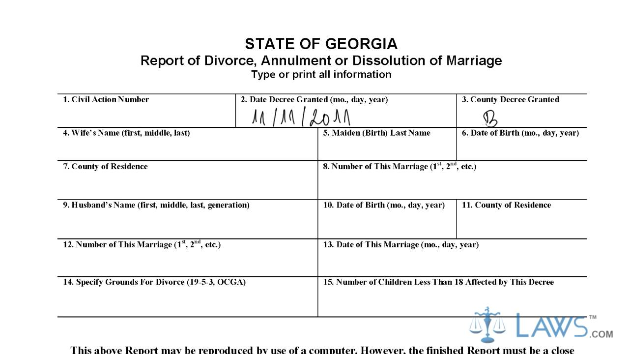 Adams County Divorce Filing