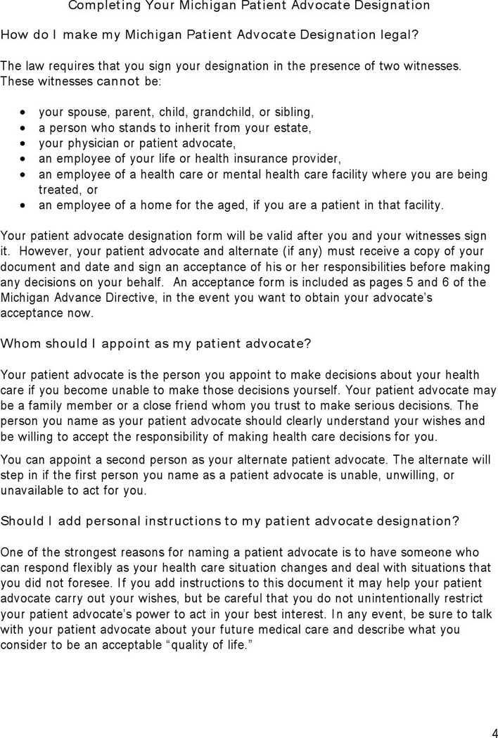 Advance Care Directive Form Michigan