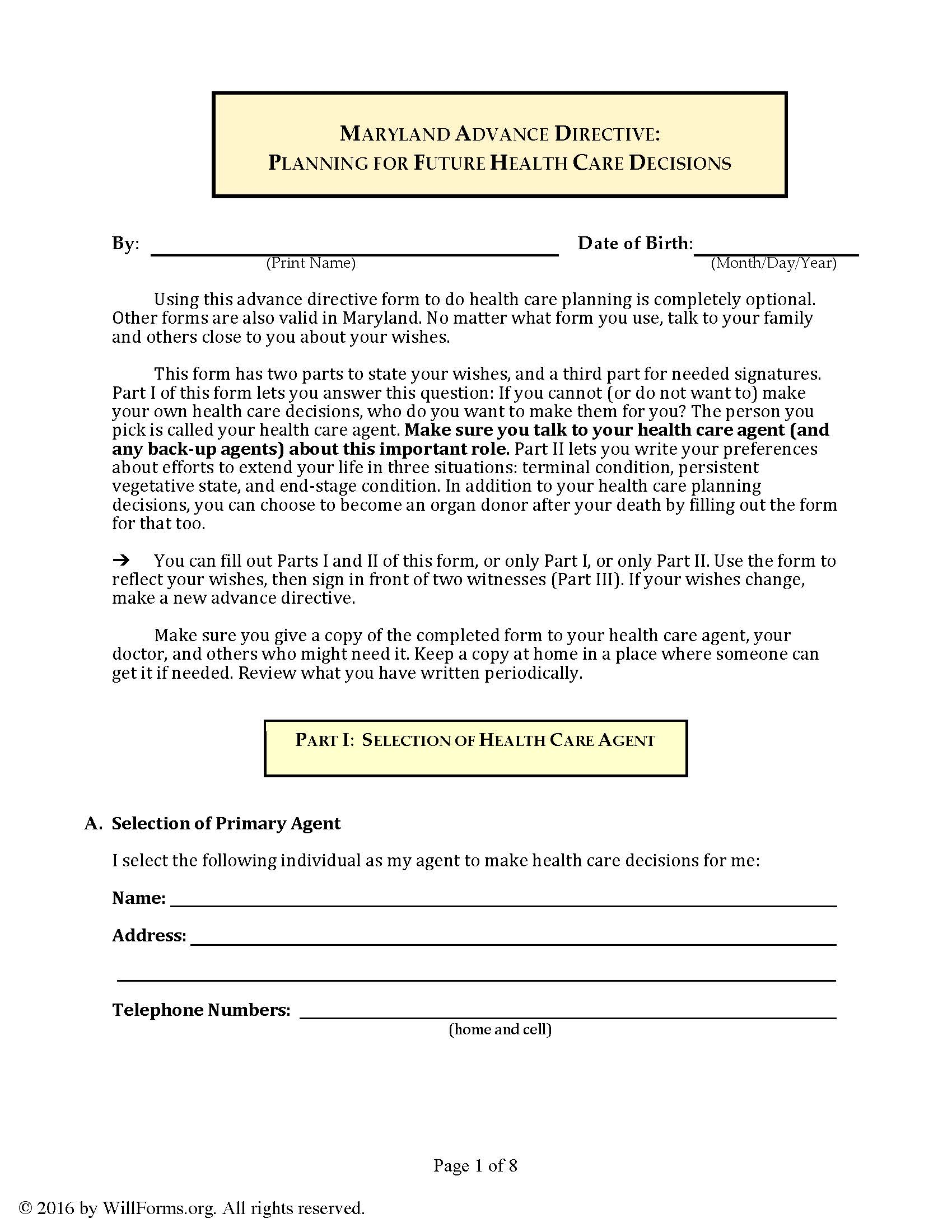 Advance Health Directive Forms