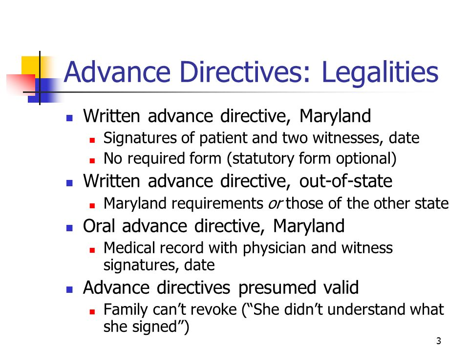 Advance Medical Directive Form Maryland