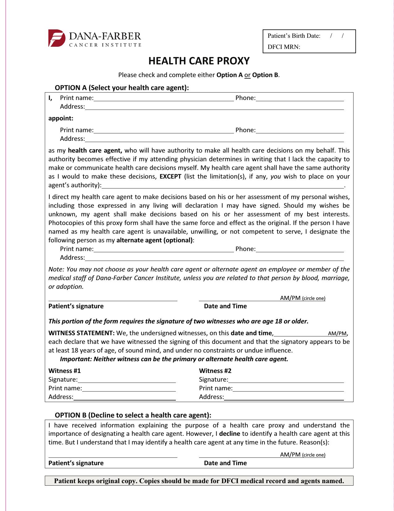 Advance Medical Directive Form Massachusetts