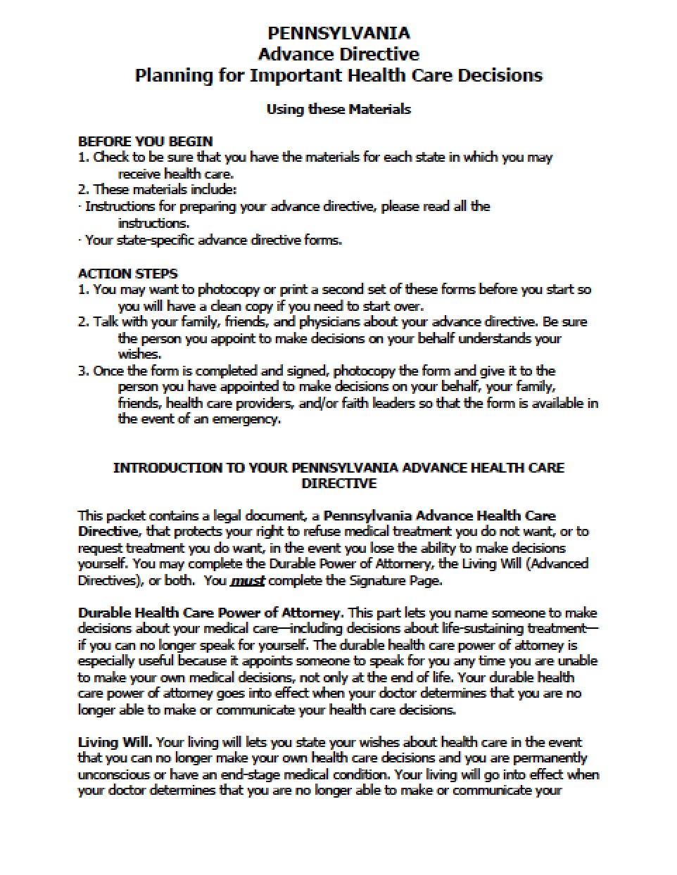 Advance Medical Directive Form Pennsylvania
