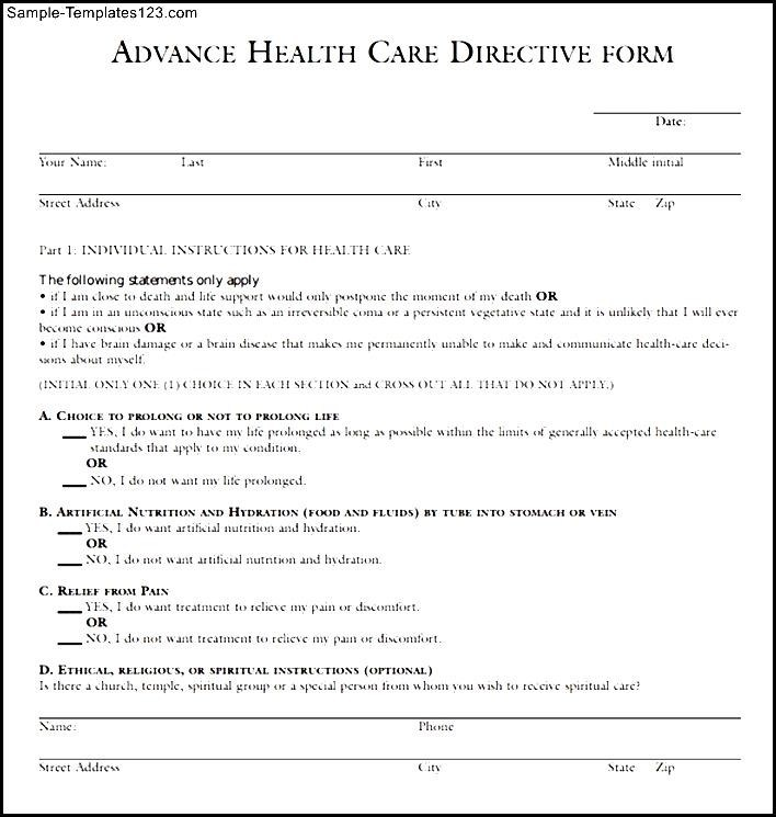Advance Medical Directive Form