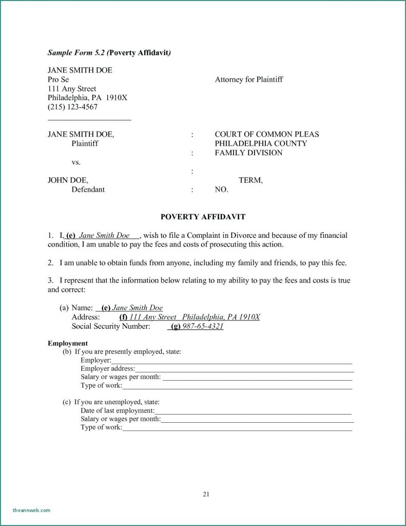 Affidavit Form For Immigration I 751
