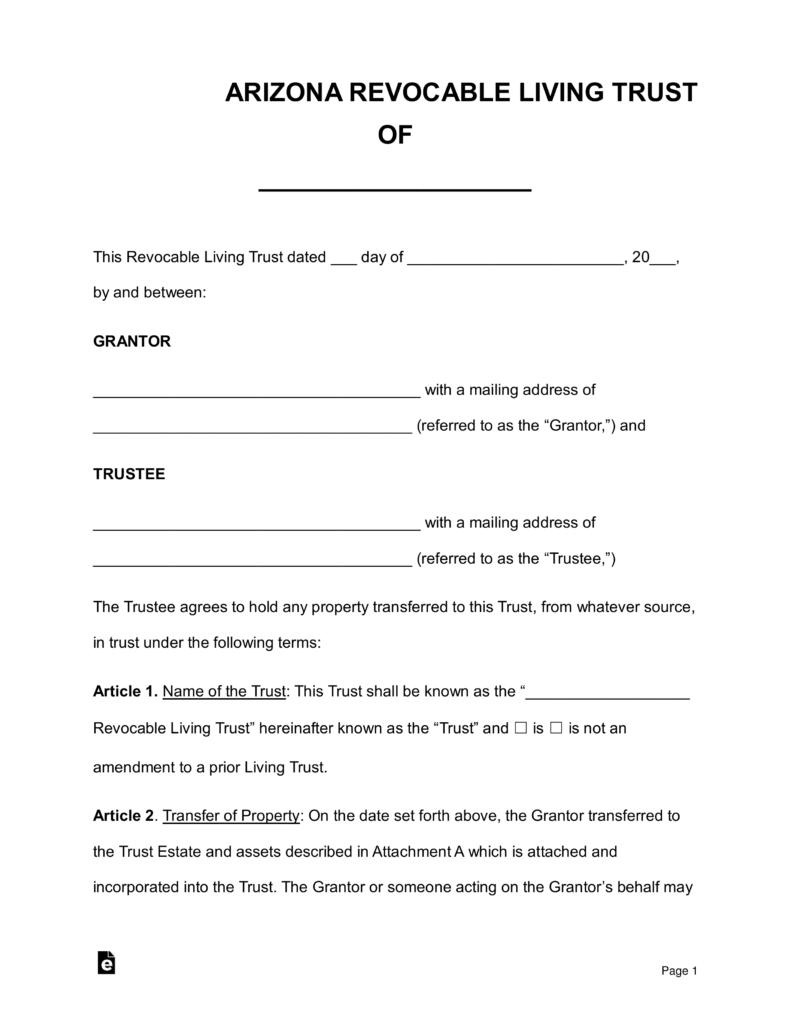 Affidavit Of Death Of Trustee Form Arizona