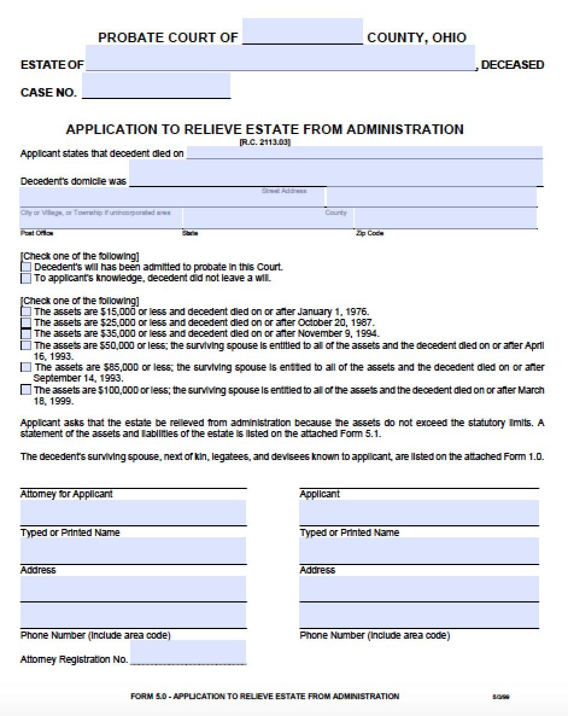 Affidavit Of Heirship Form Ohio