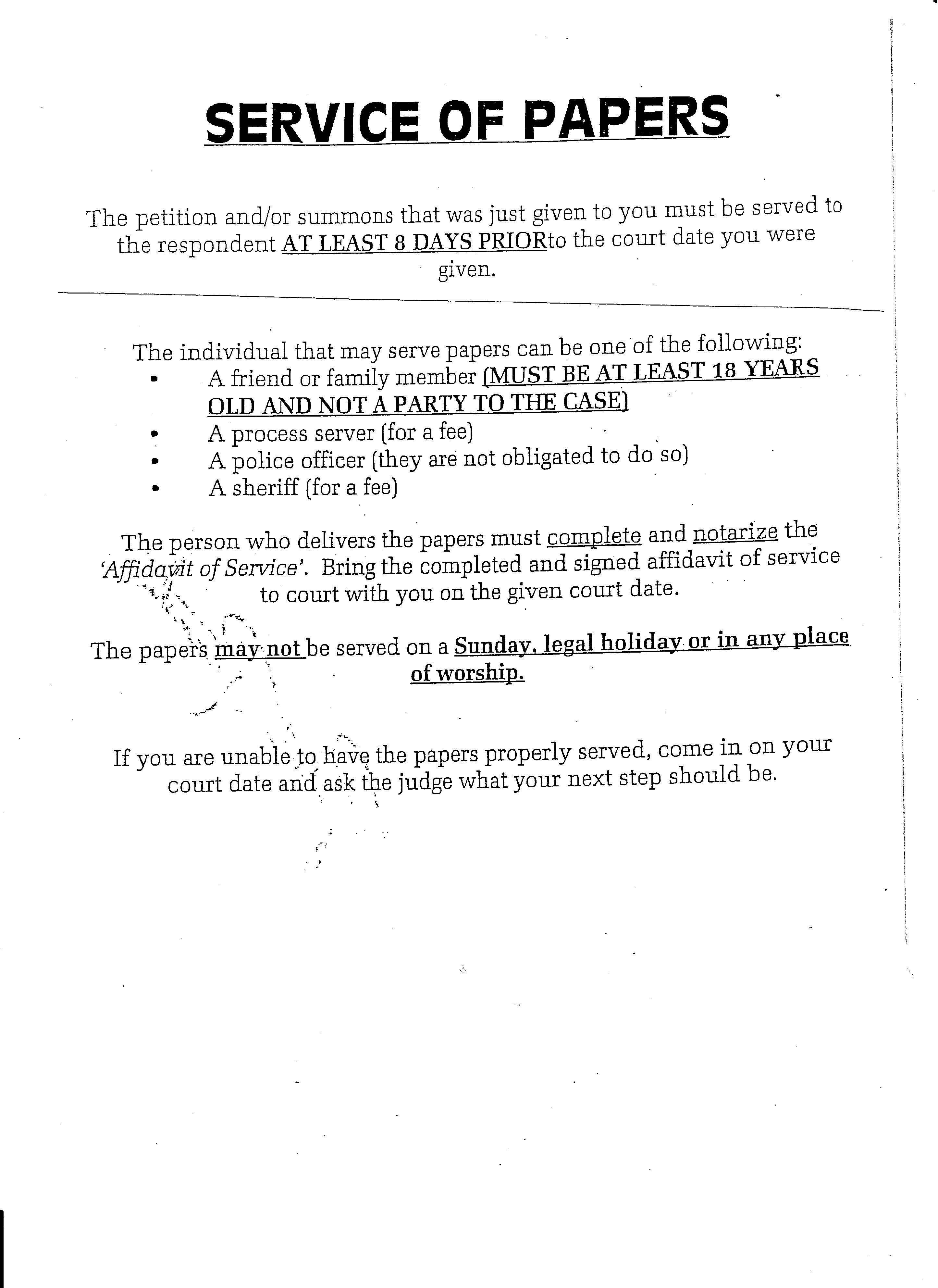 Affidavit Of Personal Service Form Ny