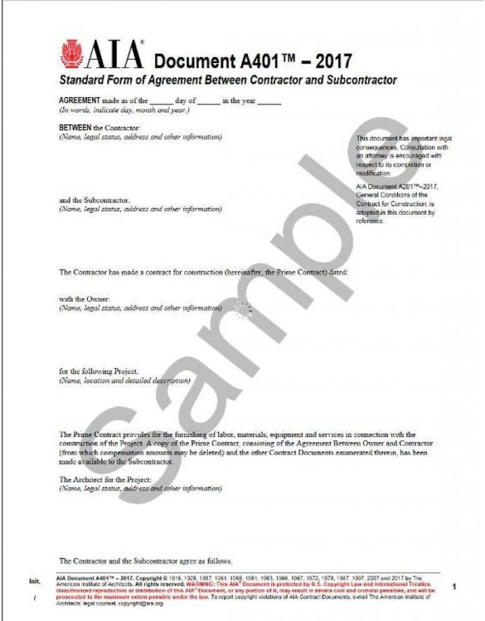 Aia A101 Form Free Download