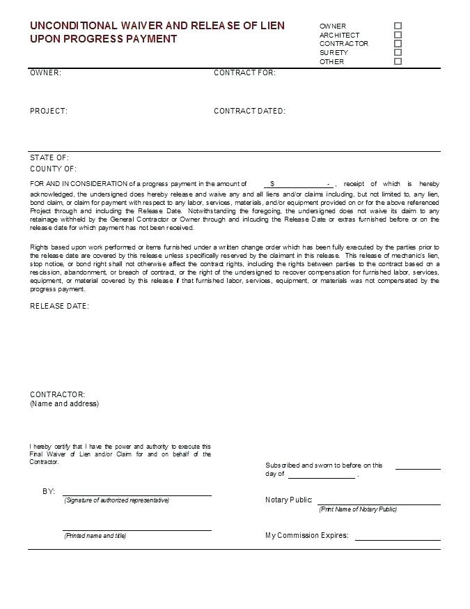 Aia Final Lien Waiver Form