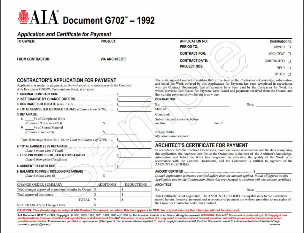 Aia Final Payment Form