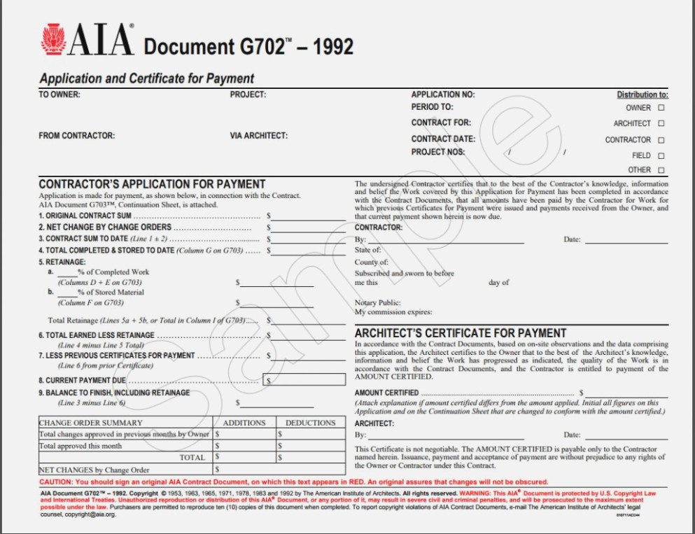 Aia Forms G702 & G703