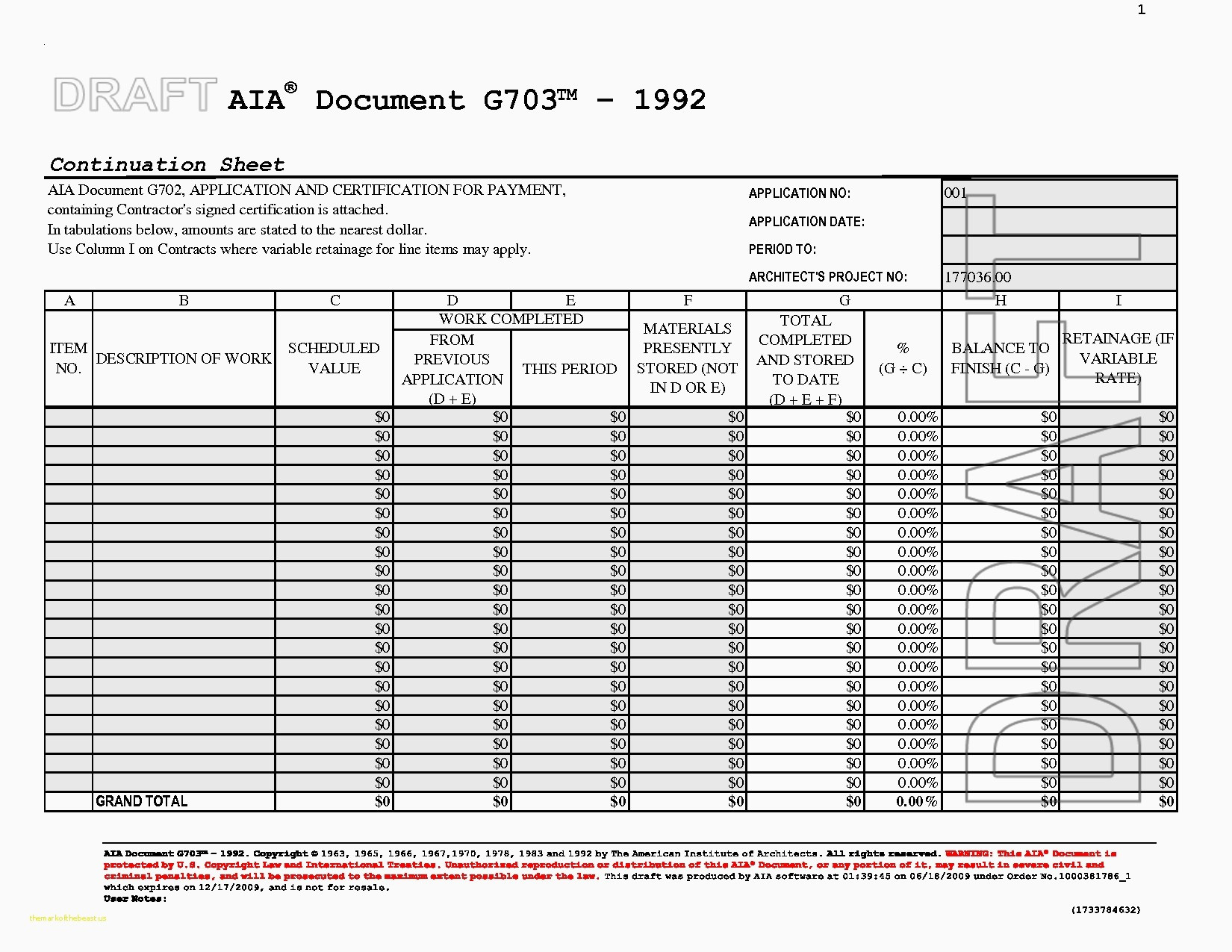 Aia G703 Excel Template