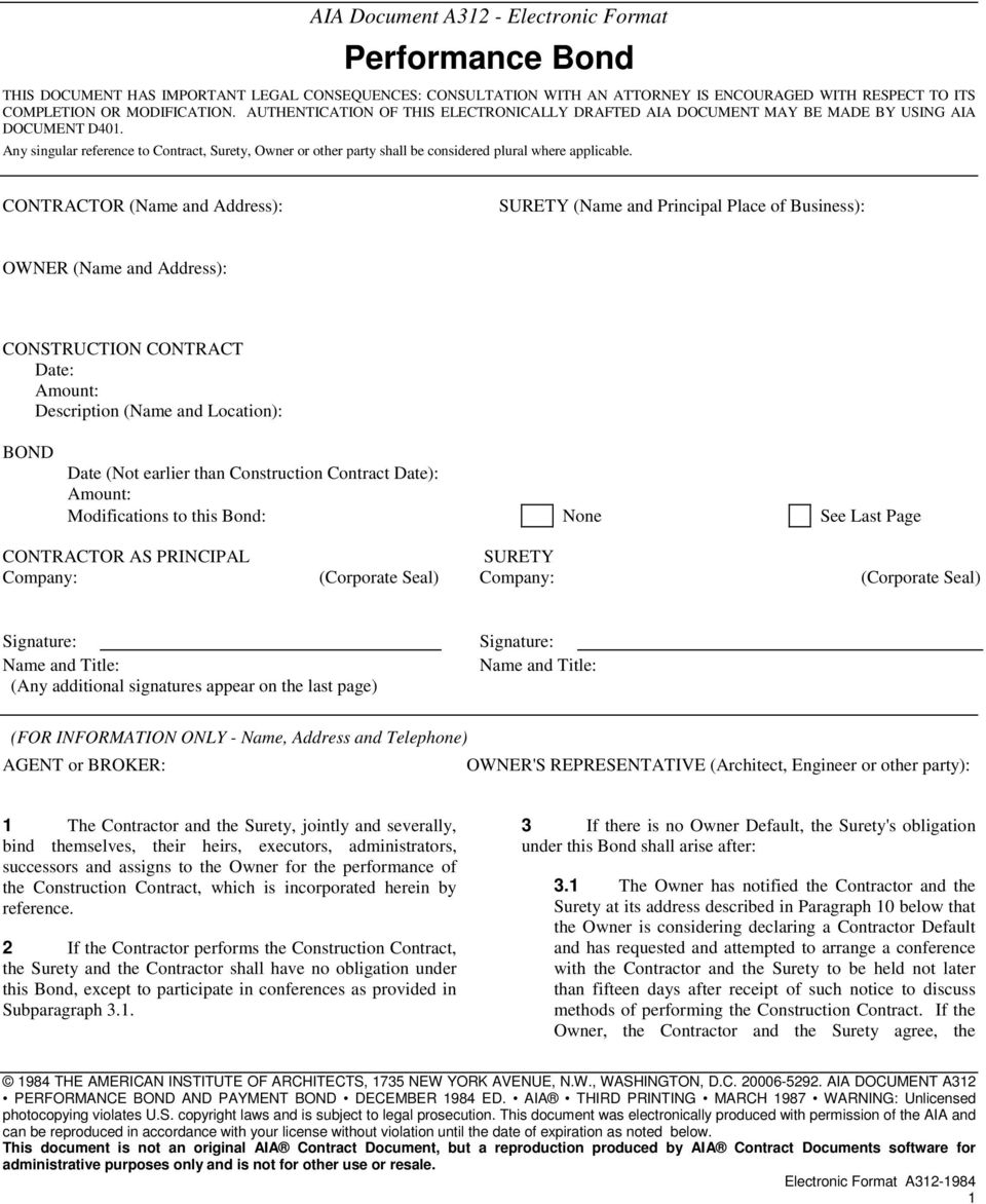 Aia Subcontractor Performance And Payment Bond Form