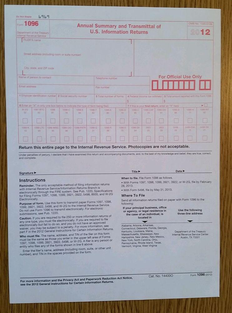 Alabama Tax Form 1096