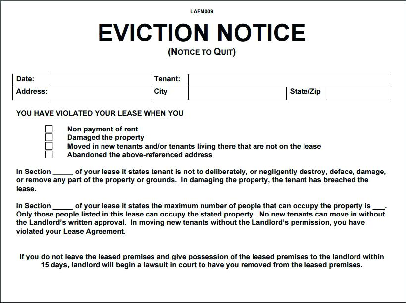 Alberta Landlord And Tenant Act Eviction Notice Form