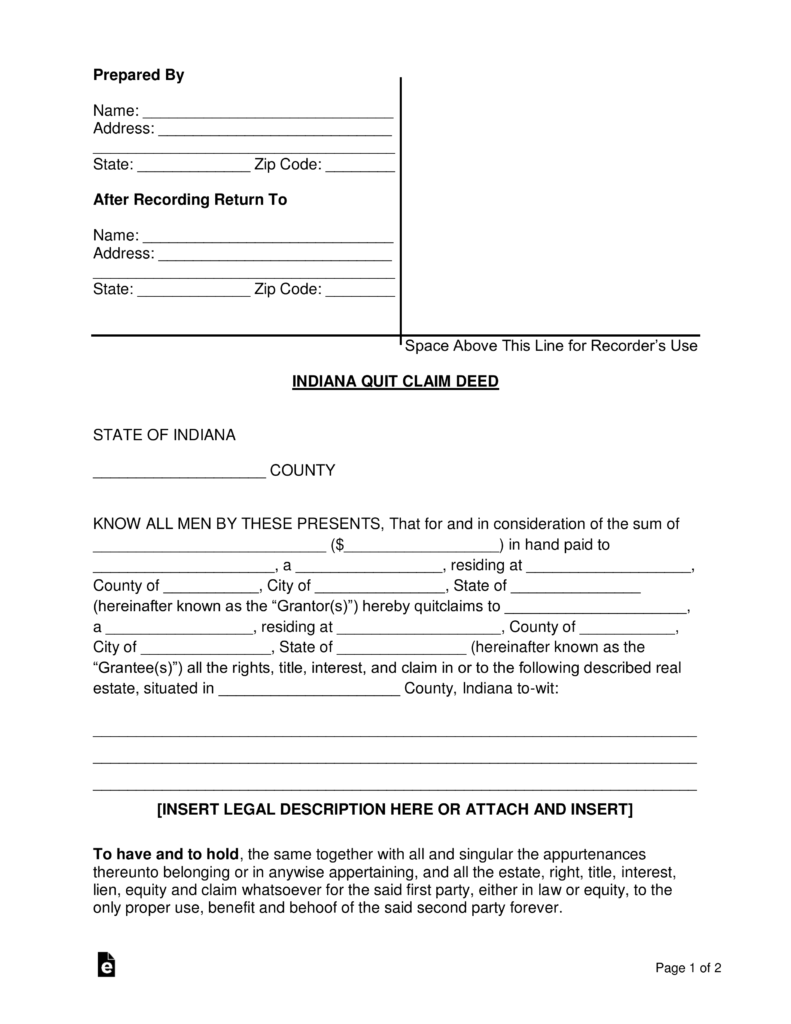 Allen County Indiana Quit Claim Deed Form