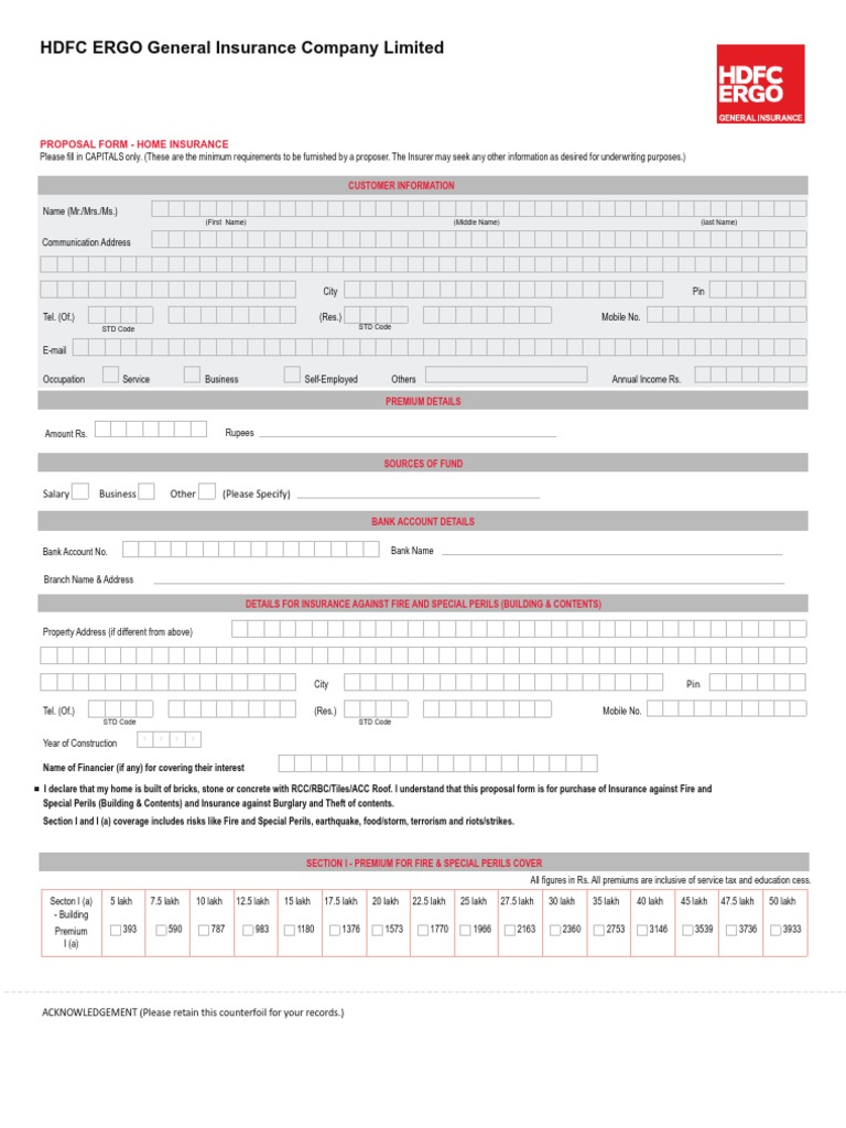 Allianz Home Insurance Proposal Form