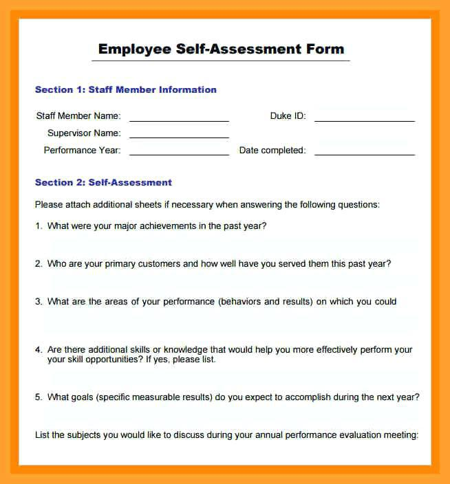 Annual Performance Review Employee Self Evaluation Form