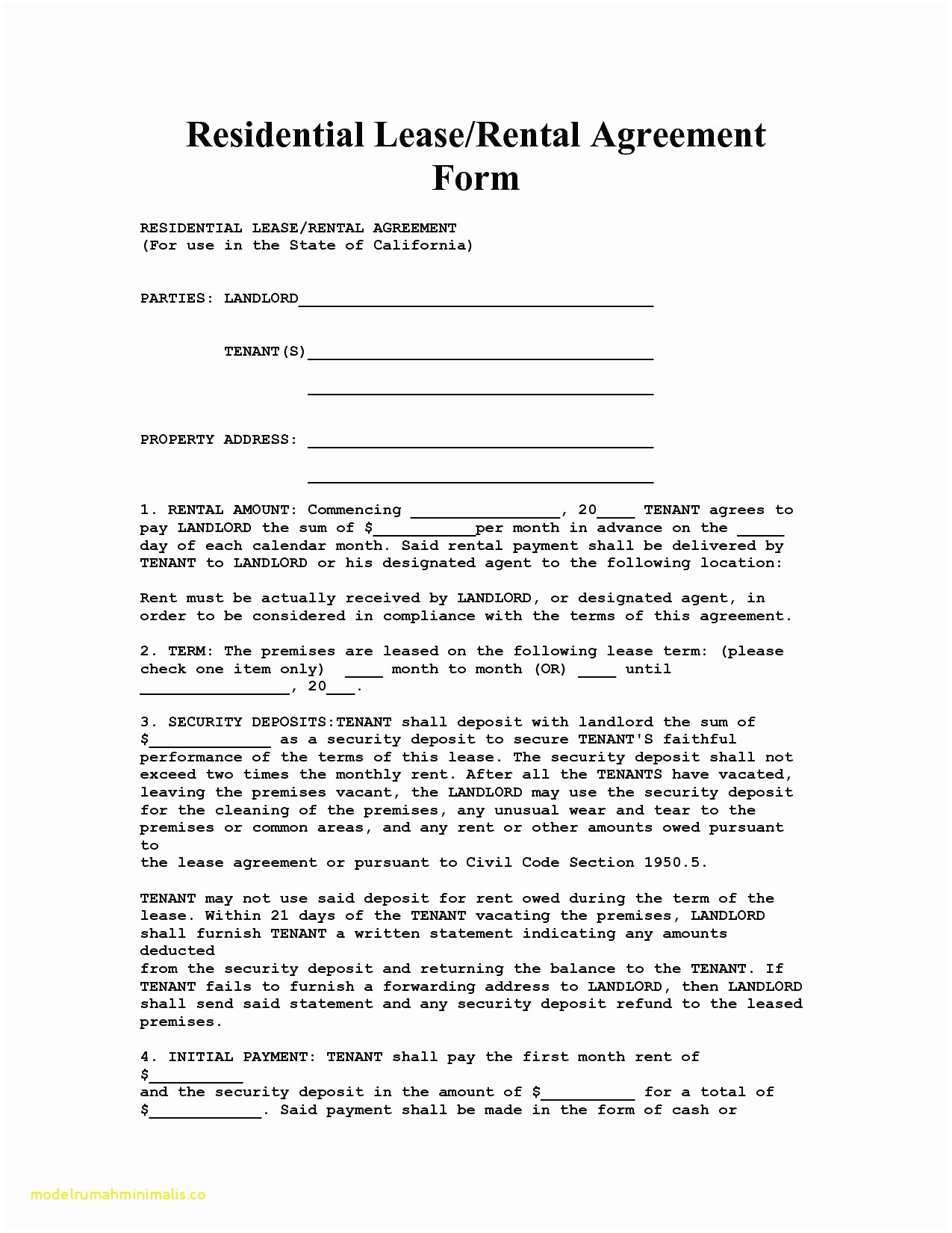 Apartment Lease Agreement Document