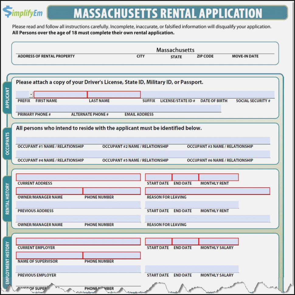 Apartment Rental Application Form Massachusetts