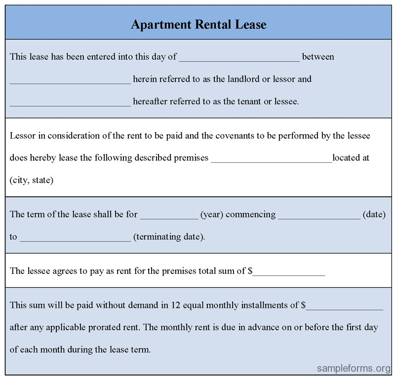 Apartment Rental Lease Agreement Sample