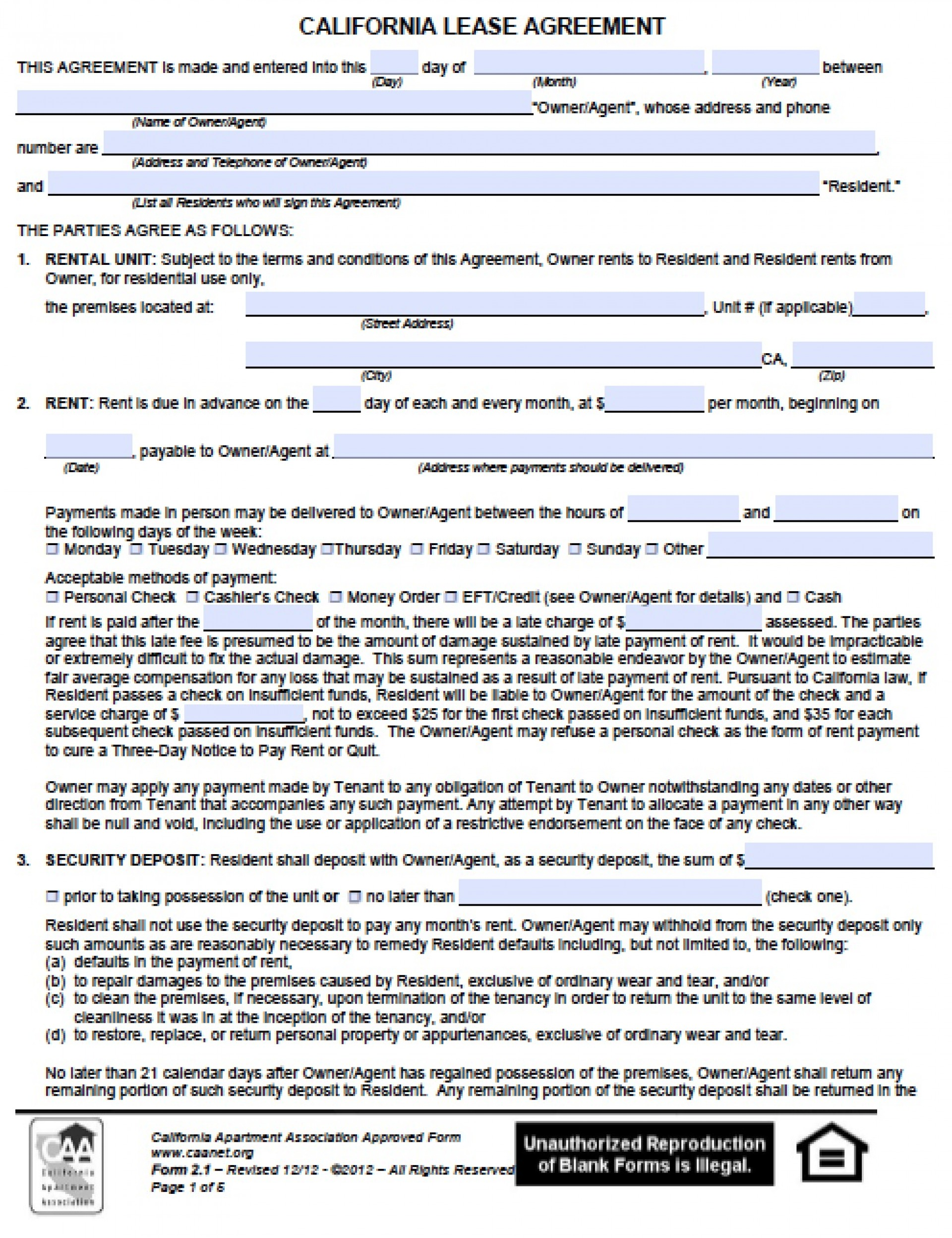Apartment Rental Lease Application Form