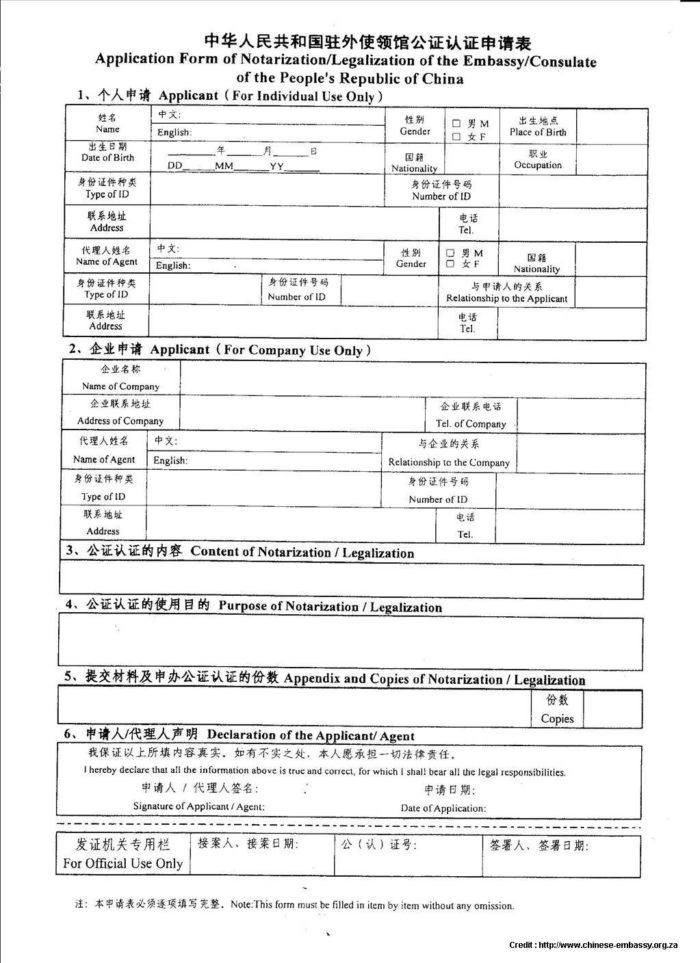 Application Form For China Visa In Singapore