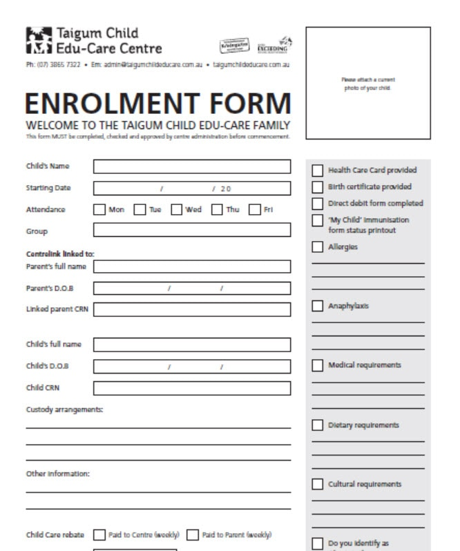 Application Form For Daycare Centre