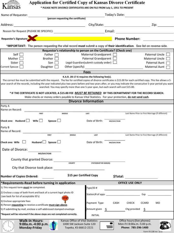 Application Form For Divorce Certificate