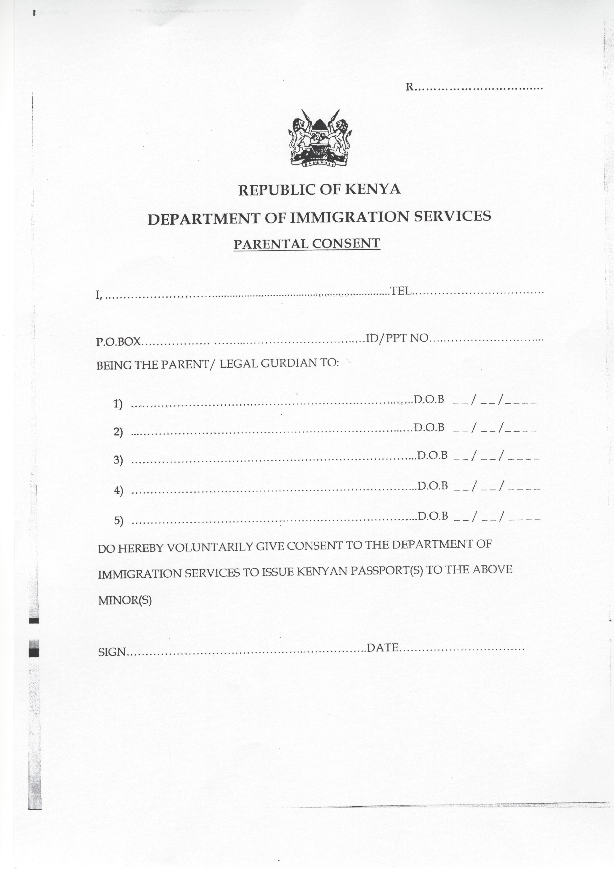 Application Form For Lost Kenyan Passport
