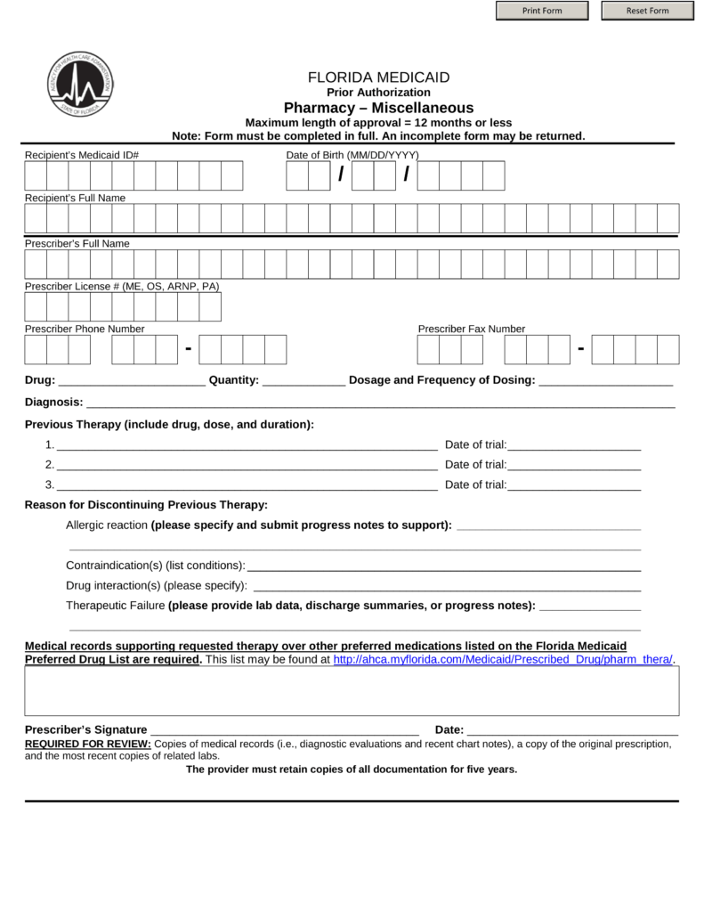 Application Form For Medicaid In Florida