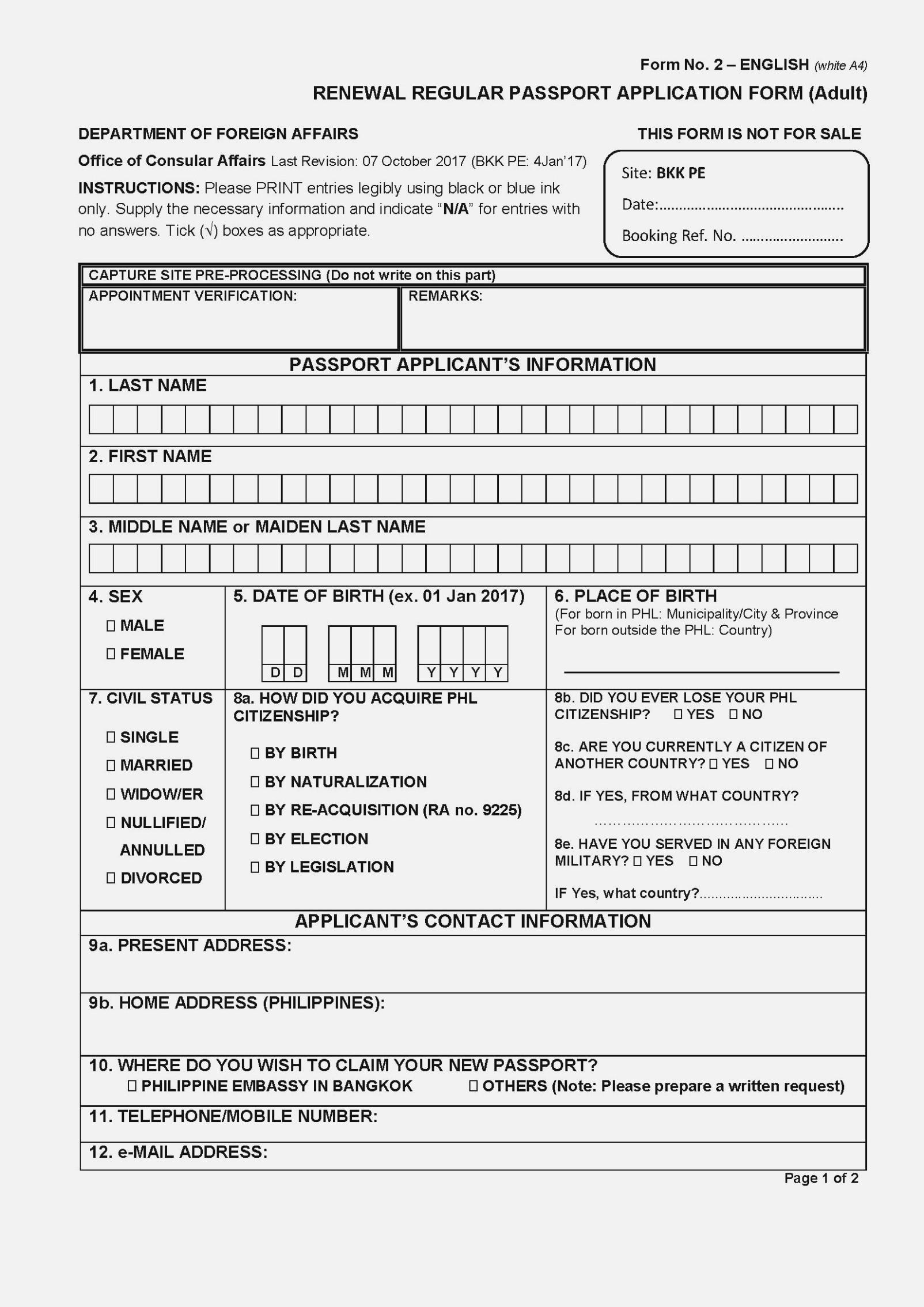 Application Form Renewal Passport Philippines