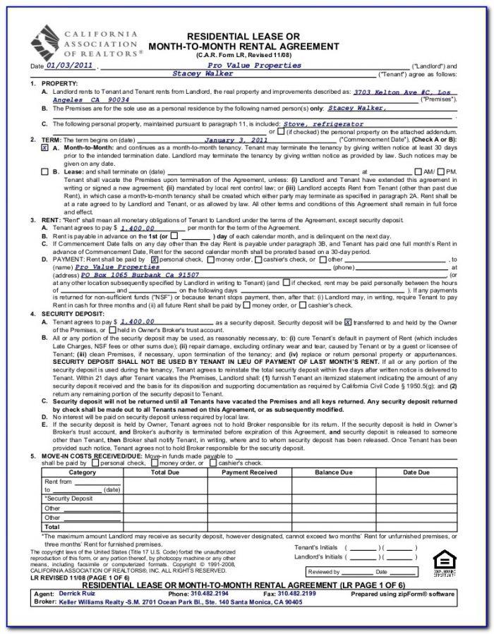Application To Rent Form California Association Of Realtors