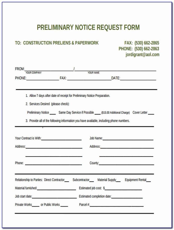 Arizona 20 Day Preliminary Notice Form