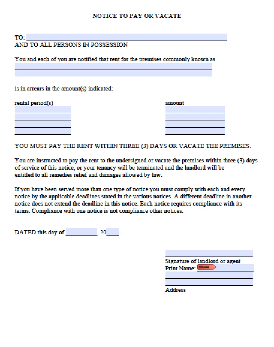 Arizona 5 Day Notice To Pay Rent Or Quit Form