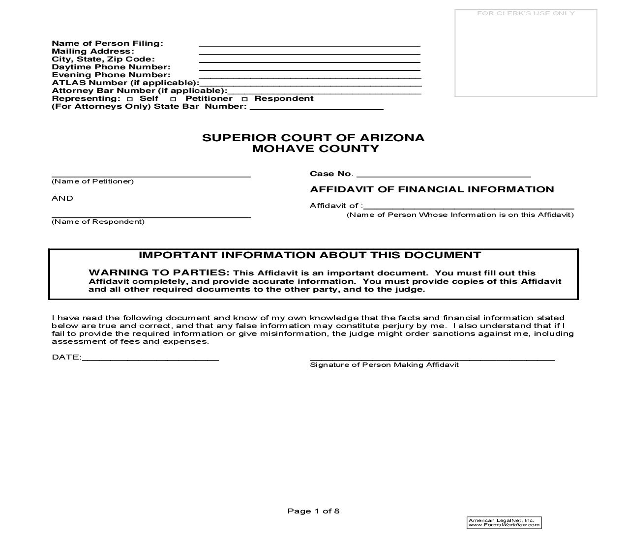 Arizona Divorce Forms Mohave County
