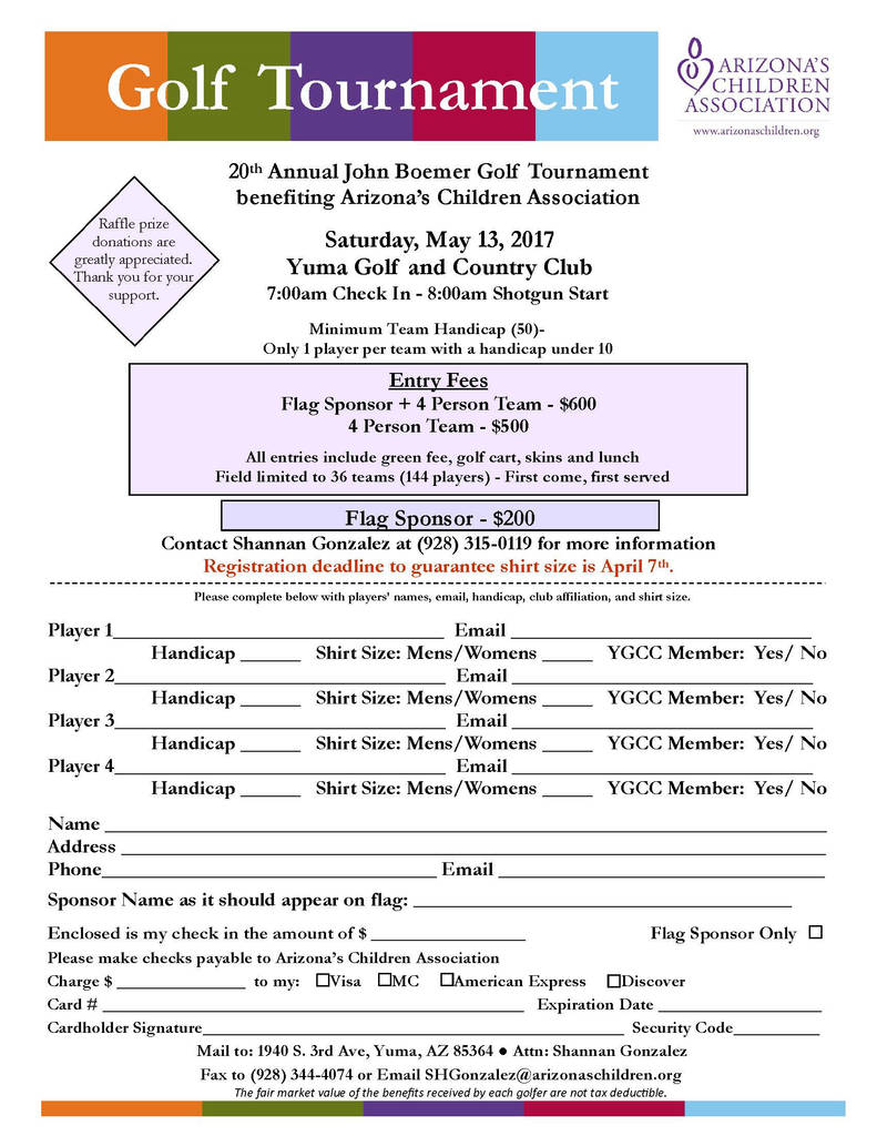 Yuma County Divorce Forms Best Of 02 28 17 Boemer Golf 2017 Registration Form Yuma Daily News 560