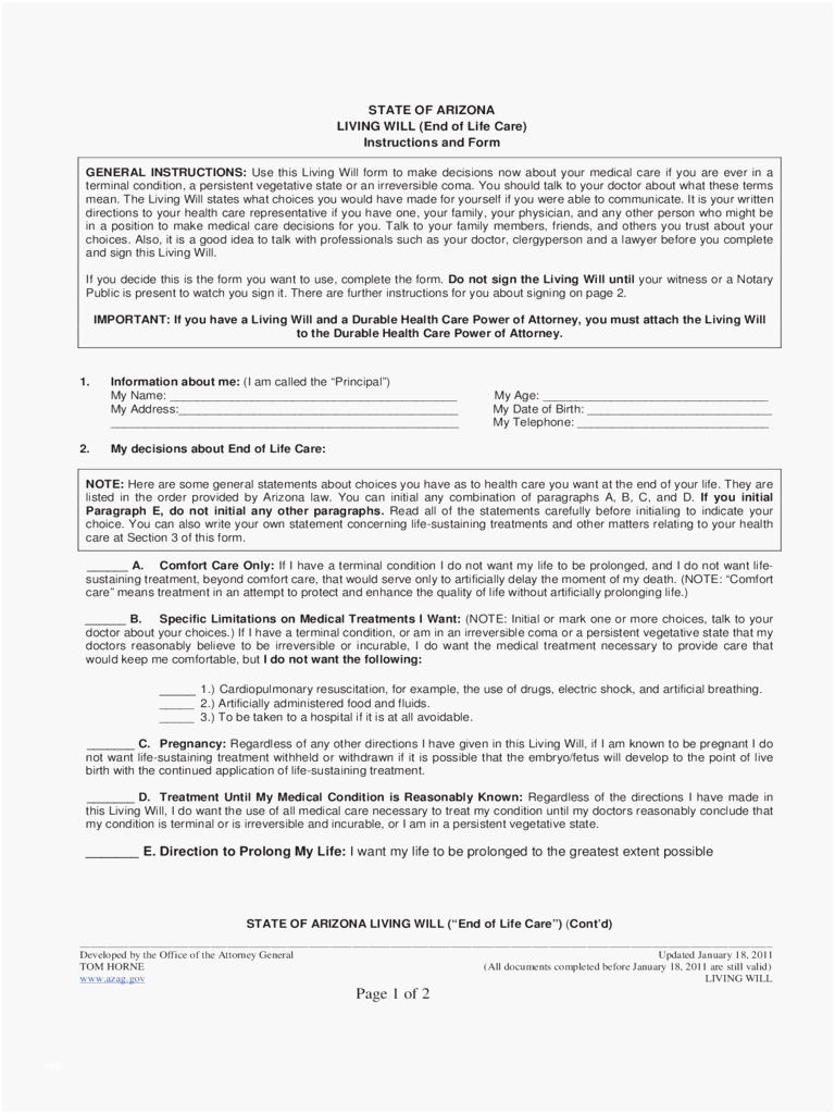 Arizona Last Will And Testament Form Free