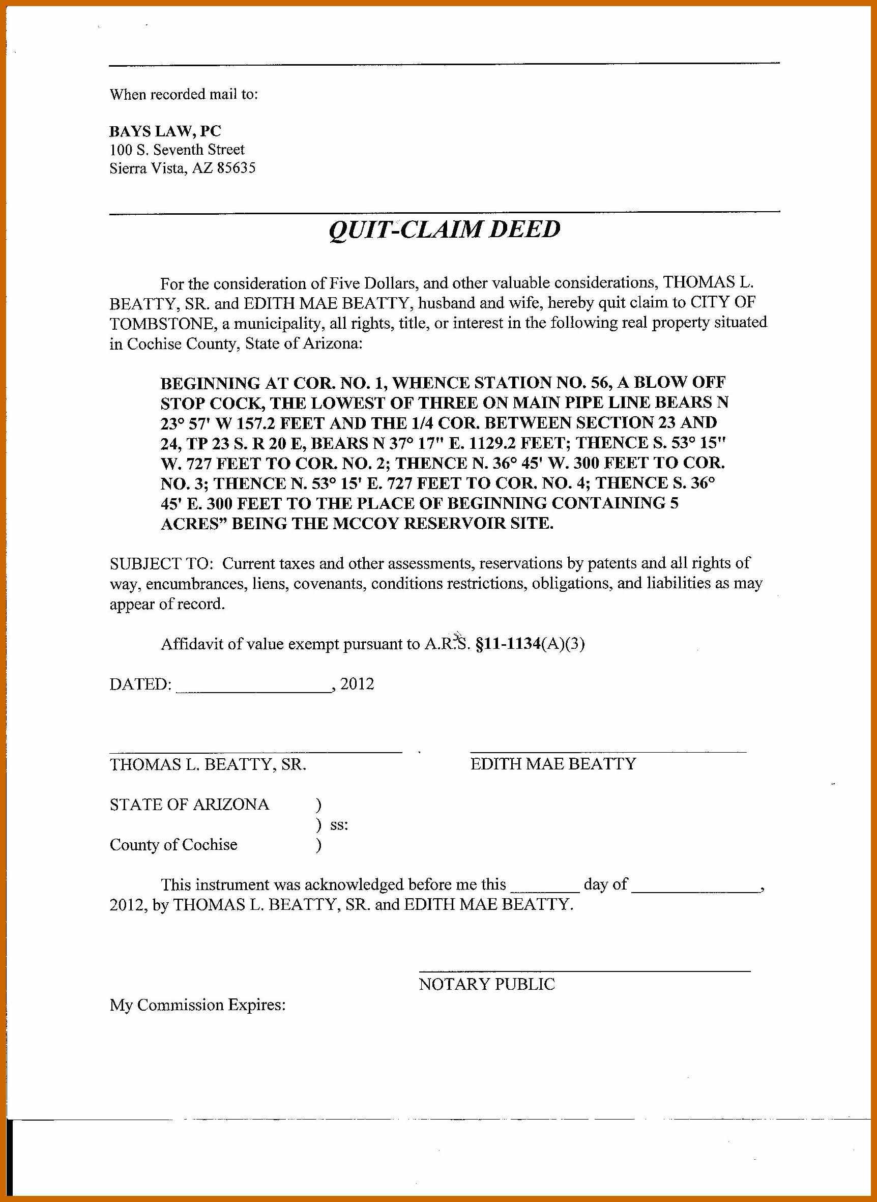 Arizona Quit Claim Deed Form Cochise County