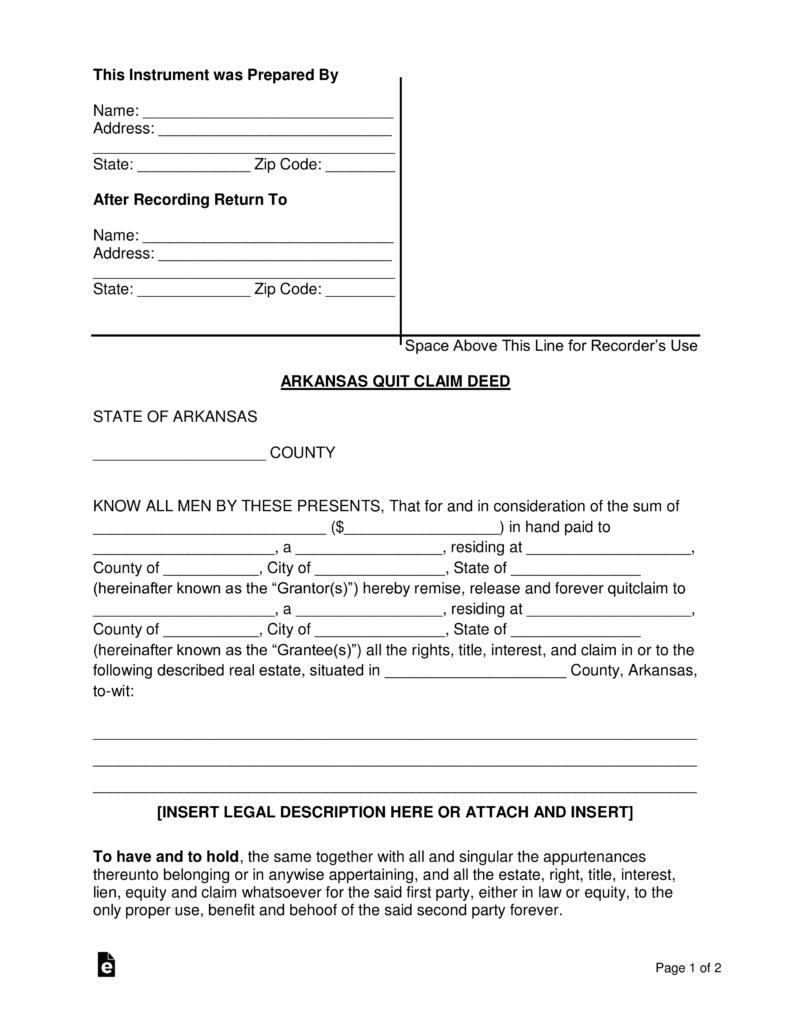 Arkansas Quit Claim Deed Form Pdf