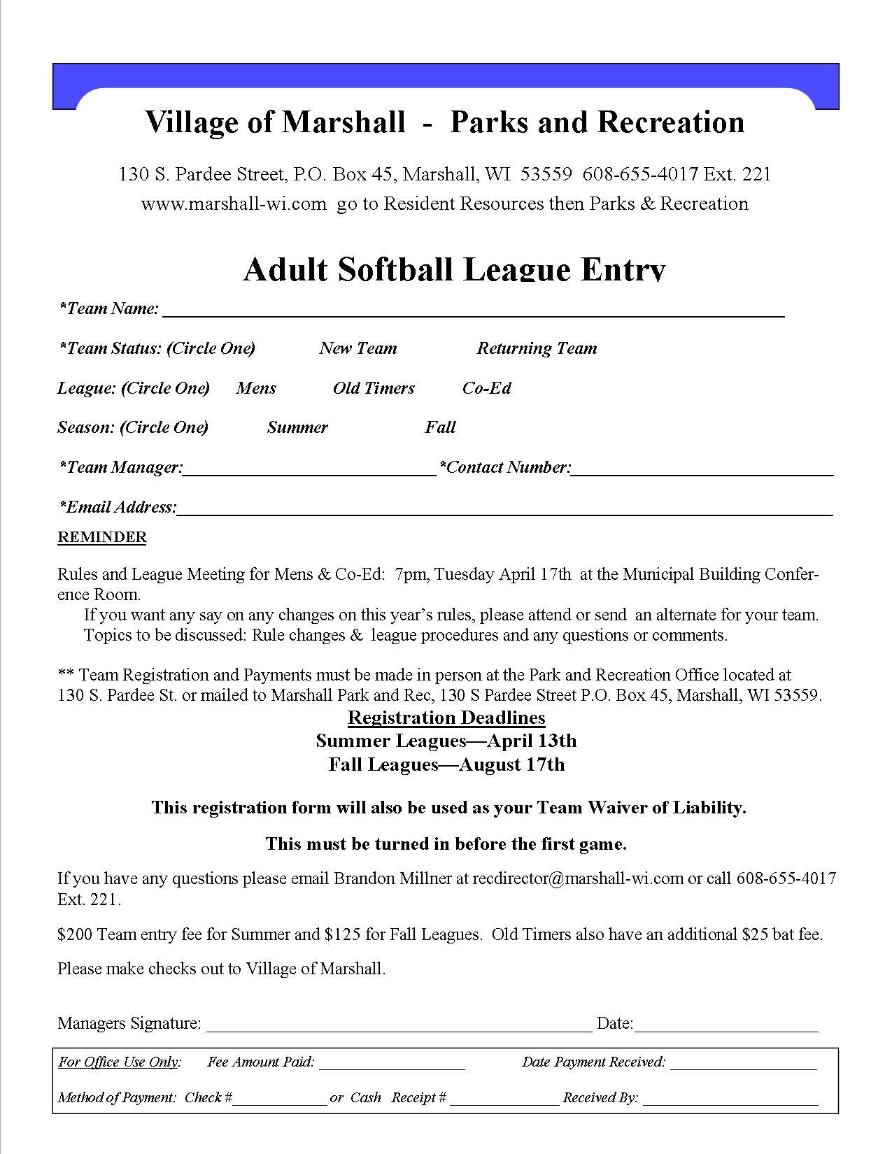 Asa Softball Registration Forms