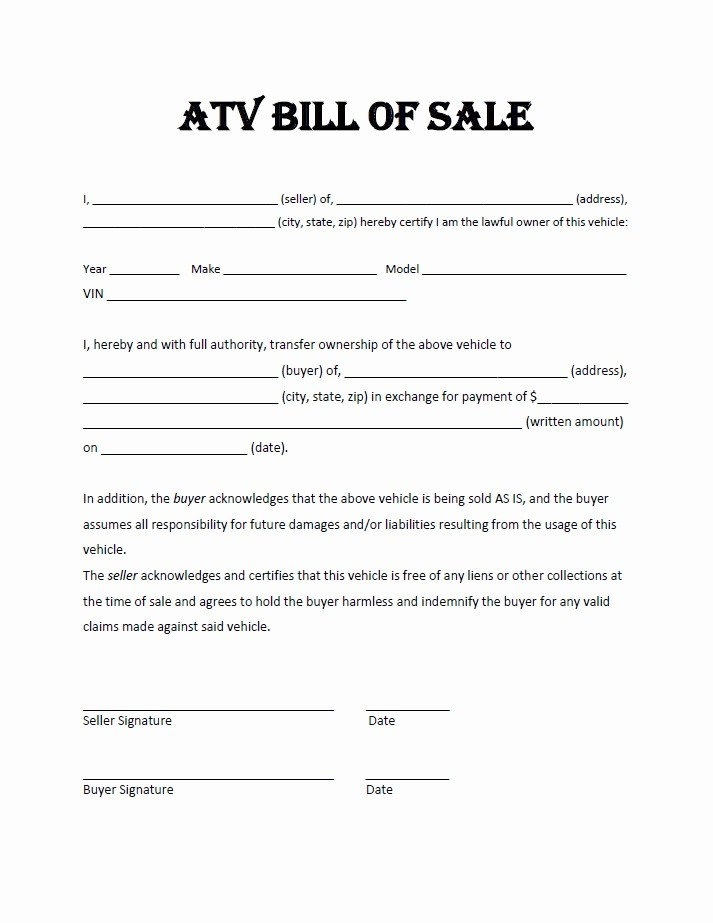 Atv Bill Of Sale Form Mn