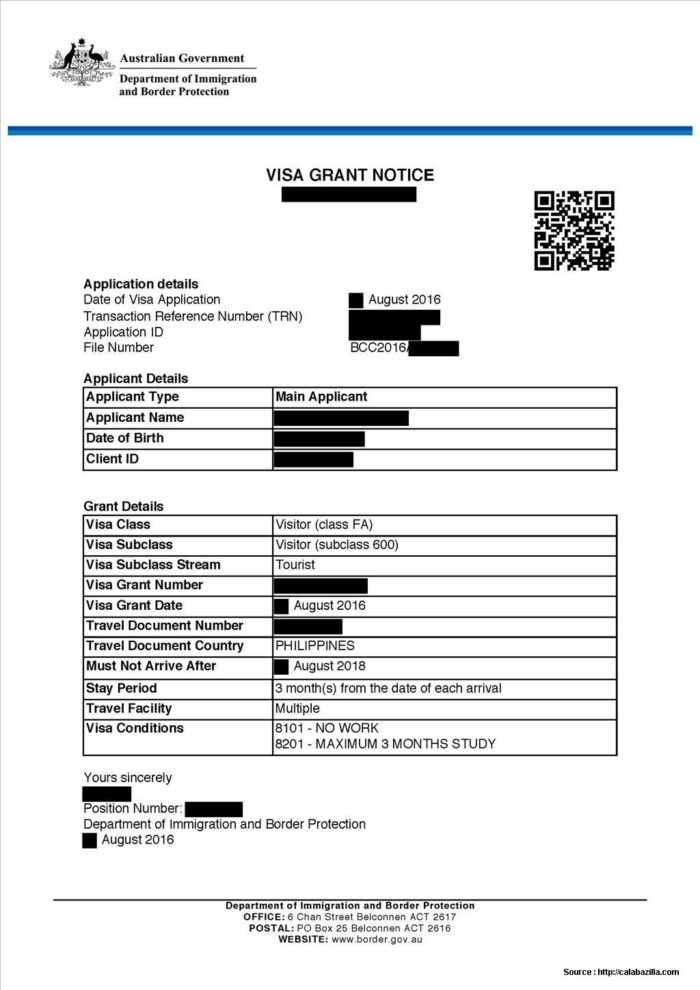 Australia 676 Tourist Visa Application Form