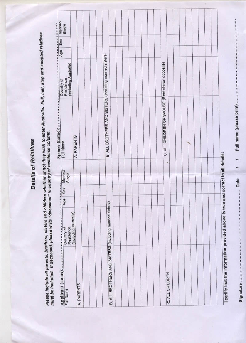 Australia Tourist Visa Form 956