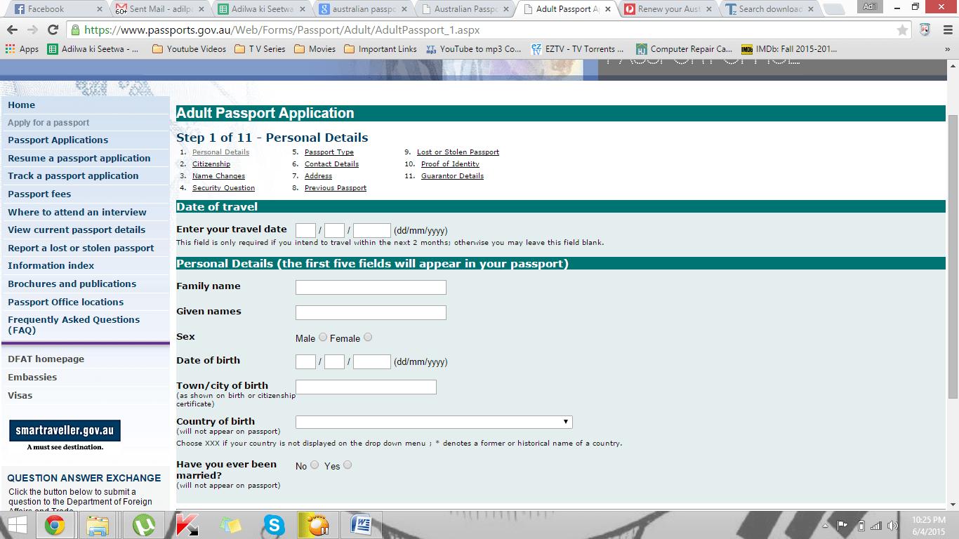Australian Passport Renewal Application Form Printable