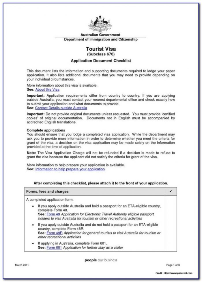 Australian Tourist Visa Application Form 48r