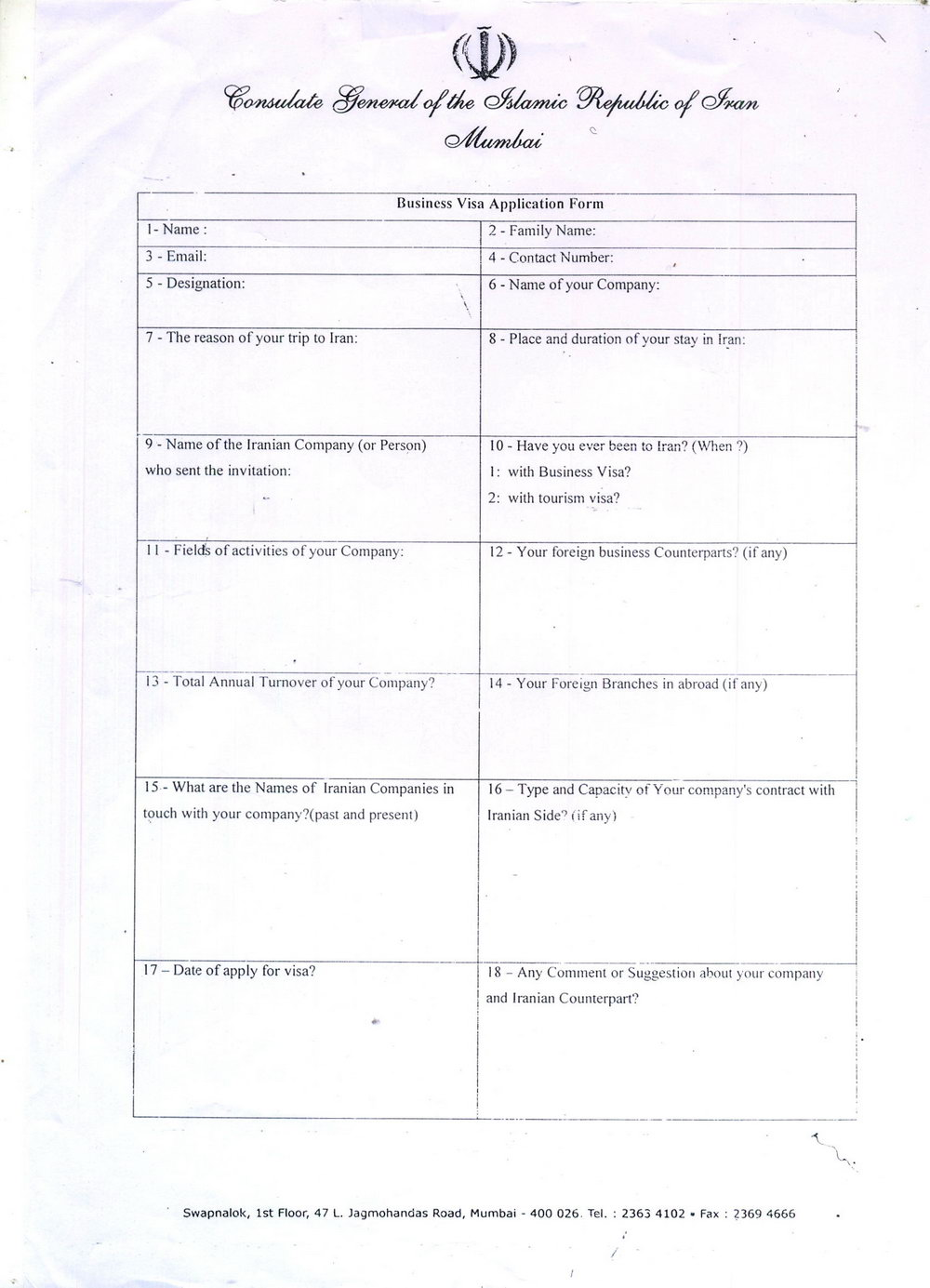 Australian Visa Application Form 1419 Thailand