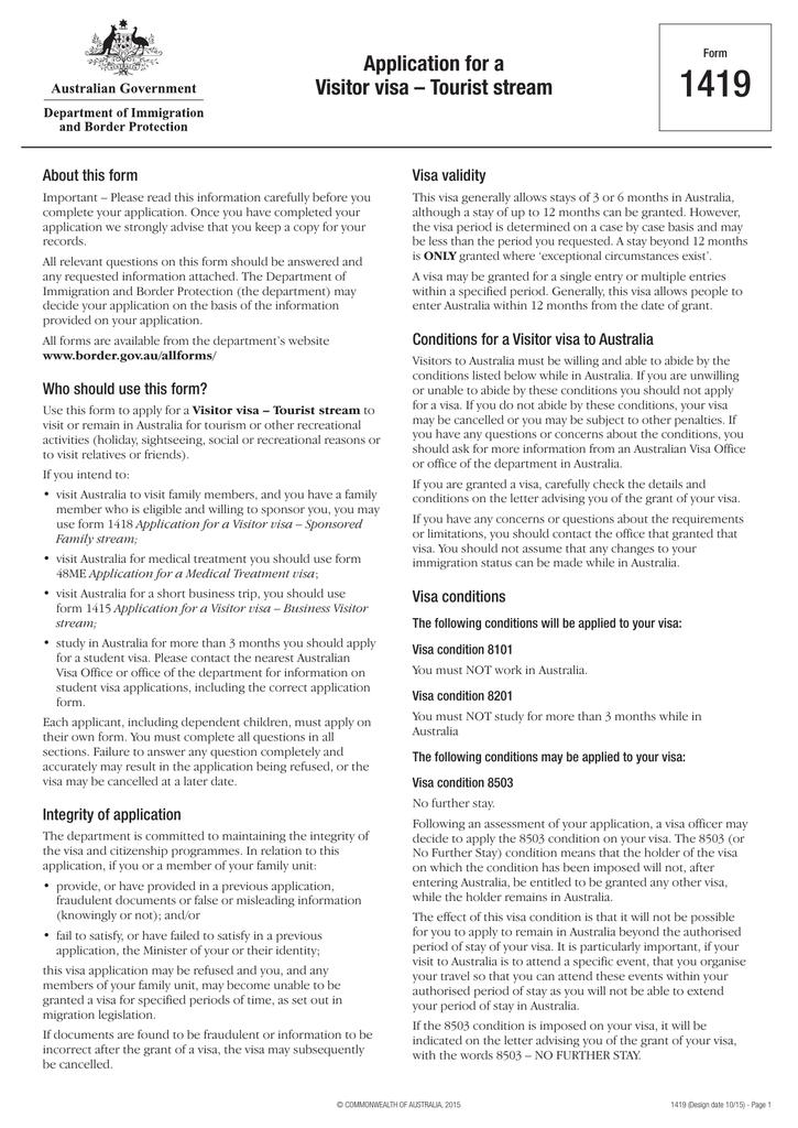 Australian Visitors Visa Application Form 1418