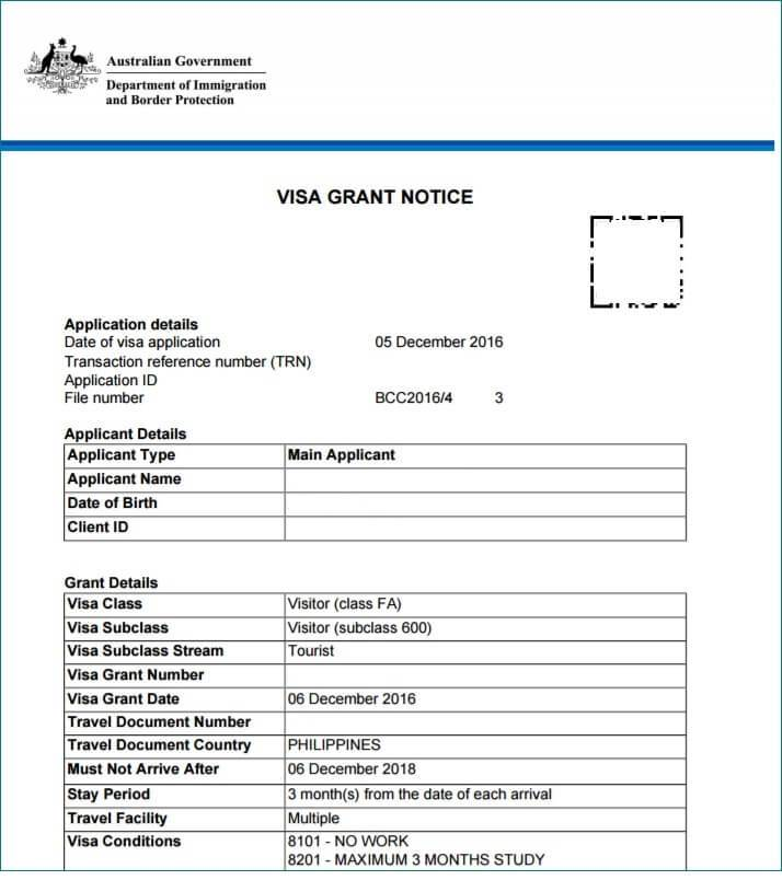 Australian Visitors Visa Application Form 600
