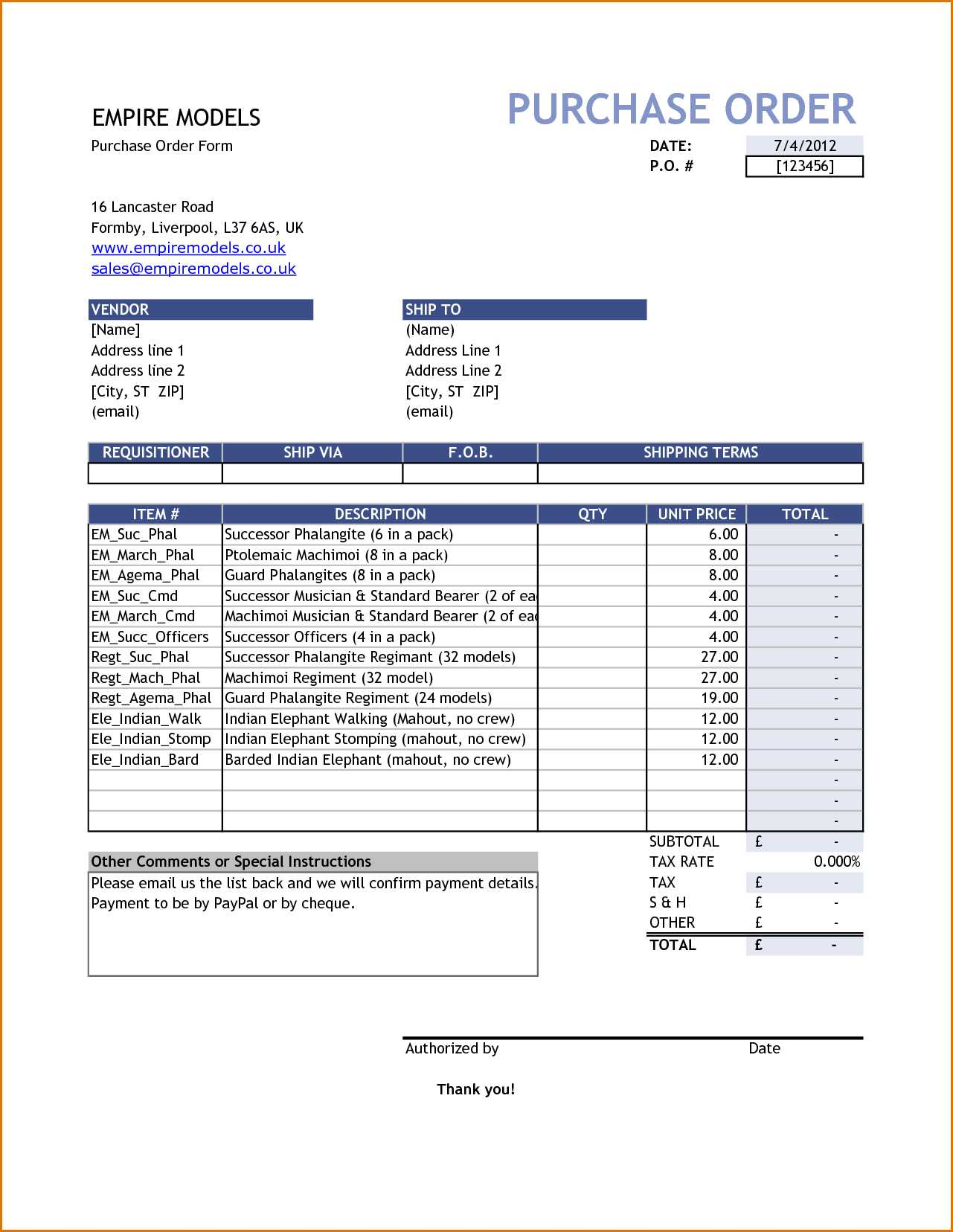Auto Repair Order Template Excel And Purchase Order Template Free Purchase Order Template Simple